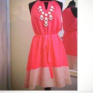 Coral Keyhole Slip Dress
